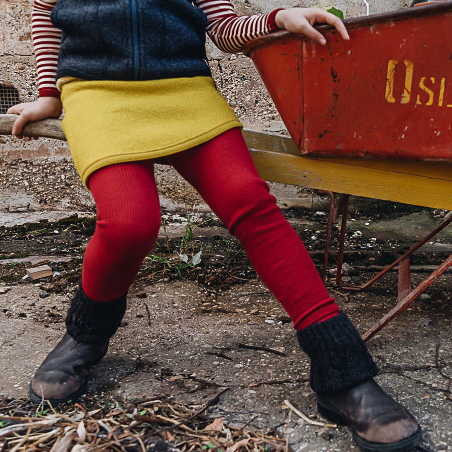 Red Footless Tights in Organic Wool and Cotton (1-9y)