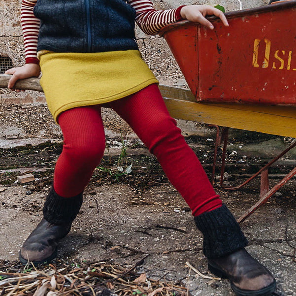 Red Footless Tights in Organic Wool and Cotton (1-10y)