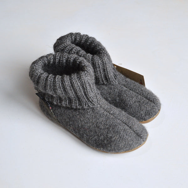 Boiled Wool Slippers - Slate Grey (size 27 only) *Last One!