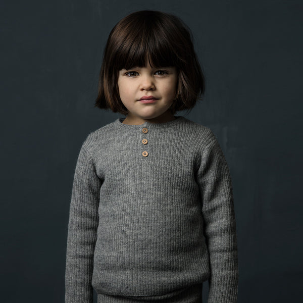 Grandpa Sweater in 100% baby alpaca - Grey (6-12y)