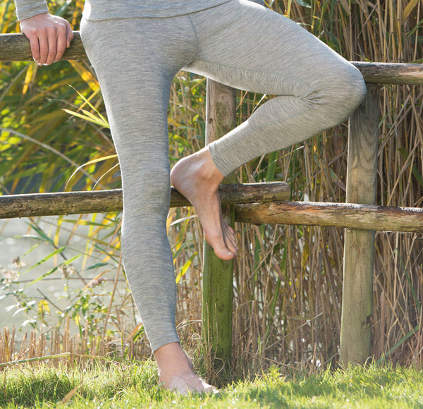 Women's Merino Wool/Silk Leggings *Walnut/Grey Melange*