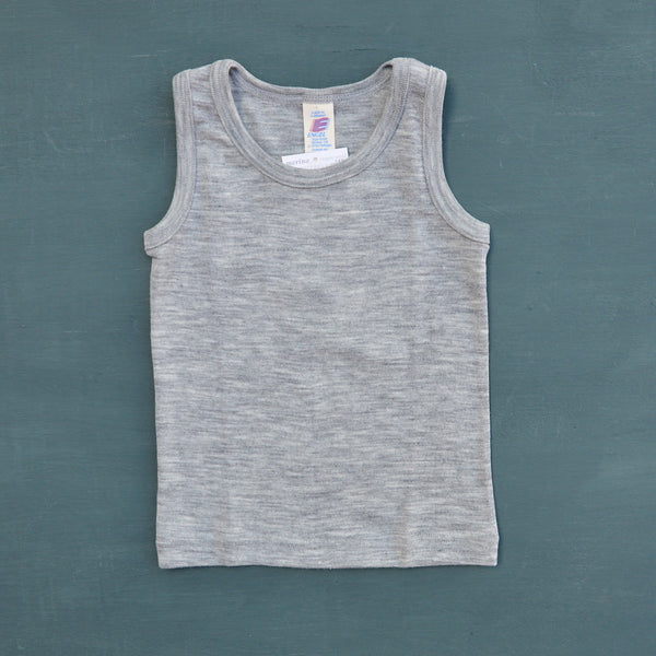 Child's Sleeveless Vest in Wool/Silk in Grey (1-12y)