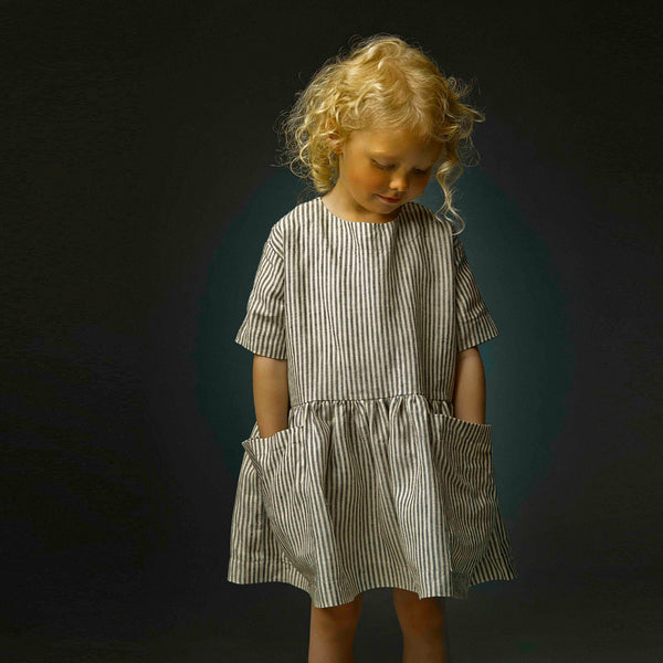 Pocket Dress in 100% Linen (18m-12y)