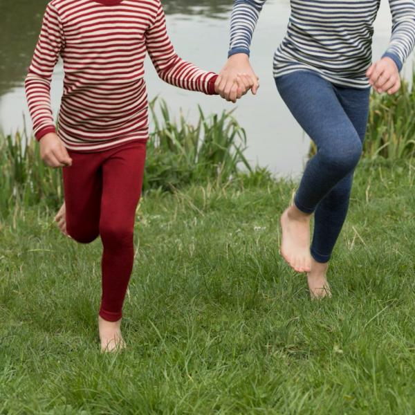 Engel, Child's Leggings 100% Merino in Blue or Red Melange - Woollykins, Australia