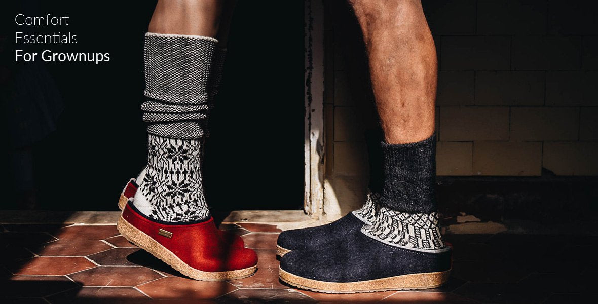 Wool slippers, socks and clogs for mums and dads at Woollykins