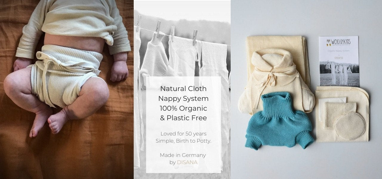 Organic Cloth Nappies with Wool Covers by Disana and Ruskovilla