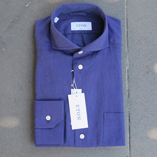 Indigo Cut Away Collar Shirt