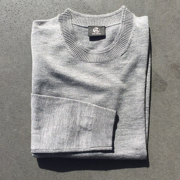 Crew Neck Merino Wool Sweater - Grey Melange