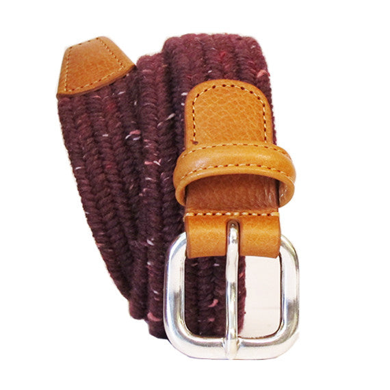 Anderson's Elasticated Woven Belt- Maroon Speckle