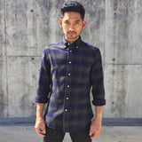 Indigo Olive Plaid Flannel Shirt