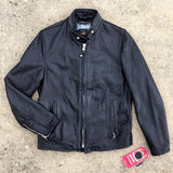 654VN Vintaged Cowhide Café Racer Leather Jacket - Black