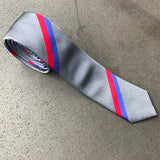 Grey Red Blue Stripe Skinny Tie