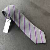 Grey Purple Stripe Cotton & Silk Tie