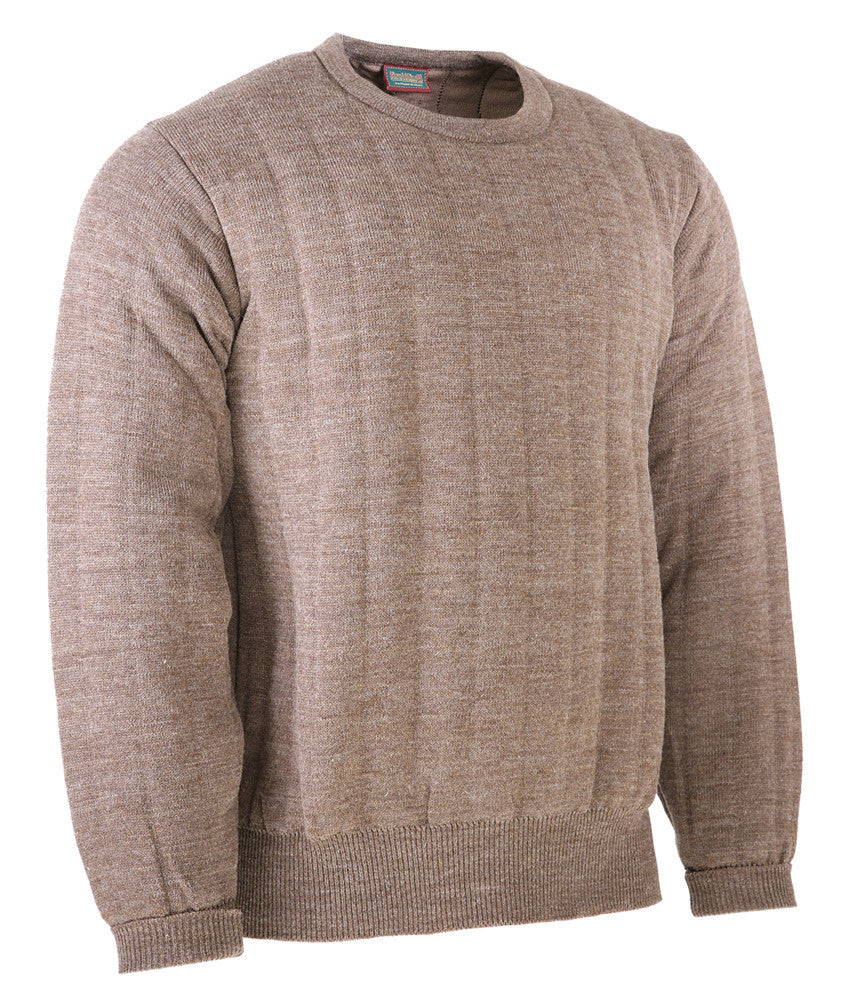 Heavyweight Crew Neck Country Jumper without Patches in Brown Mix