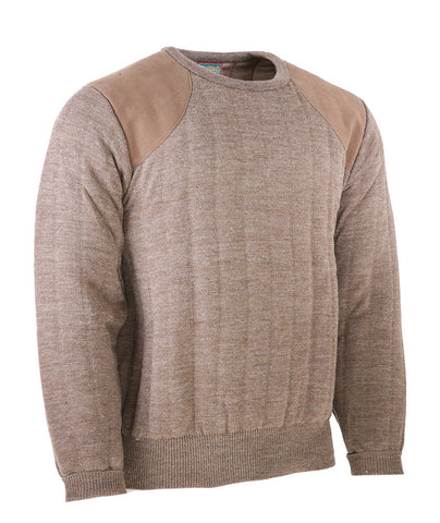 Heavyweight Crew Neck Country Jumper with Patches in Brown Mix