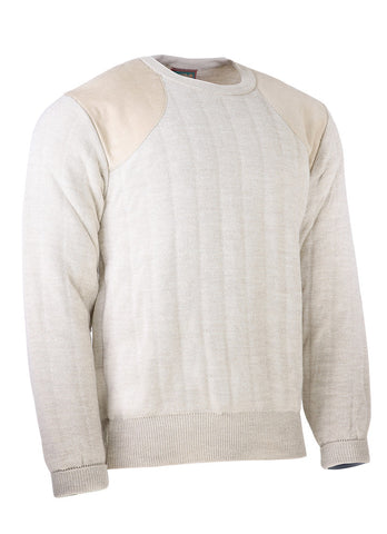 Heavyweight Crew Neck Country Jumper with Patches in Oatmeal