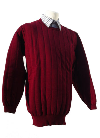 Heavyweight Crew Neck Country Jumper without Patches in Claret