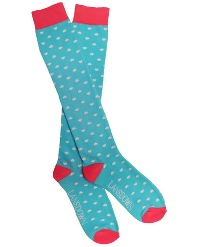Lansdown Hearts Riding Boot Socks - Aqua/White