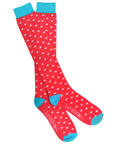 Lansdown Hearts Riding Boot Socks - Pink Passion/Aqua/White