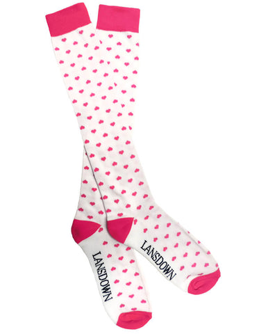 Lansdown Hearts Riding Boot Socks - White/Pink Passion