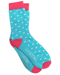 Lansdown Hearts Ankle Socks - Aqua/White
