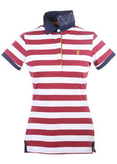 Portland Polo Shirt in Red & White