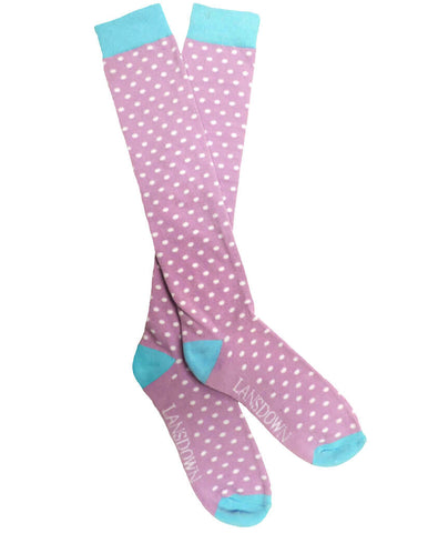 Lansdown Spotty Riding Boot Socks - Pink Lavender/Norse Blue