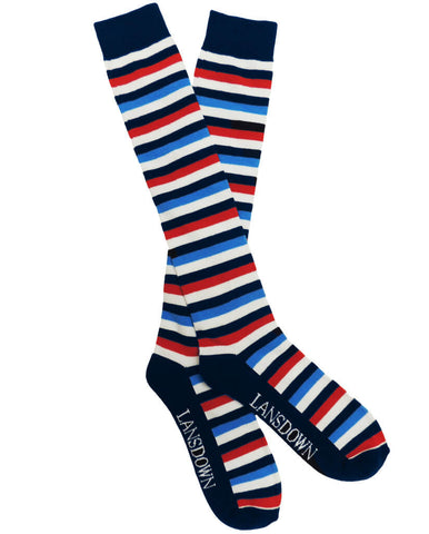 Lansdown Stripey Riding Boot Socks - Navy/Blue/White/Red