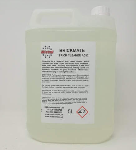 Brickmate Premium - Concentrated Brick & Concrete Cleaner Acid - Descaler & Rust Remover
