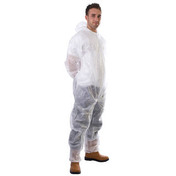 50 White PP Non-Woven Coverall - Medium