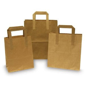 "10"" x 15.5"" x 12"" Large Brown Flat-Handle  Paper Carrier Bags (Pack of 250)"