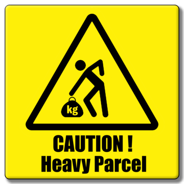 """CAUTION HEAVY PACKAGE"" 148x50mm Labels (Roll of 500)"