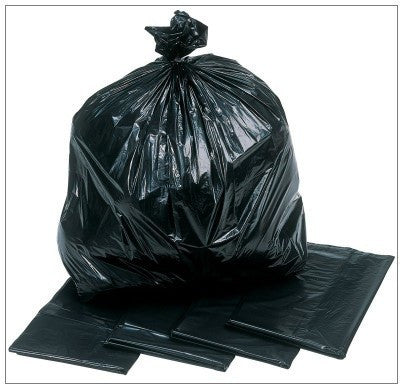 "Black Refuse Sack - Light  Duty(18"" x 29""  x 38"") Pack of 500"