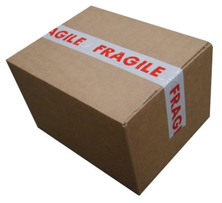 50mm x 66m printed tape fragile pack of 6 applewade