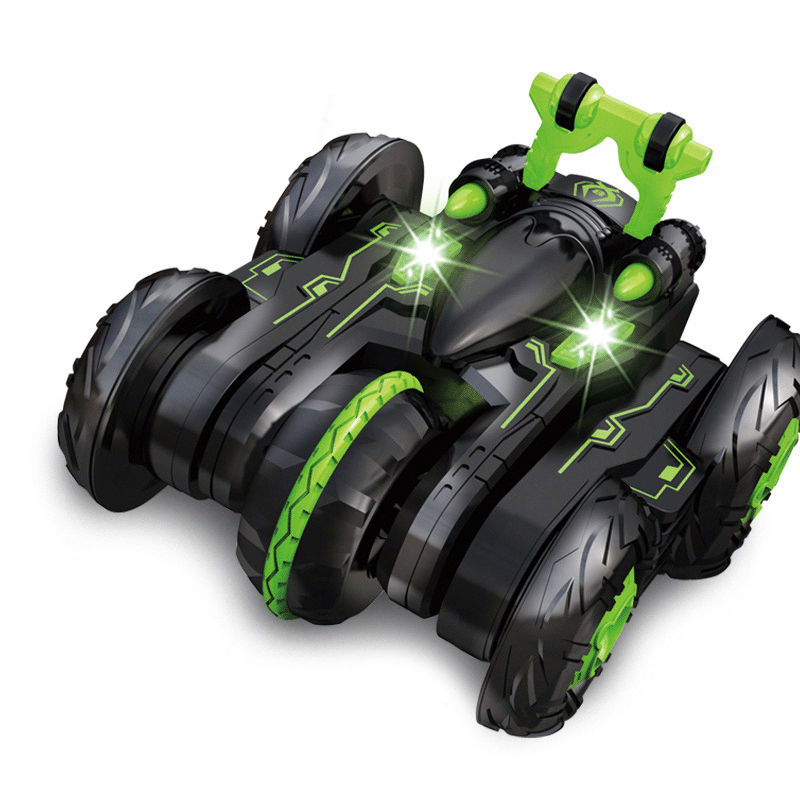 Children's remote control toy 2.4G six-way deformation off-road remote control car lights rotating dump stunt car