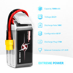 ExtremePower 6s Lipo Battery 1000mah 100C for FPV Racing Drone