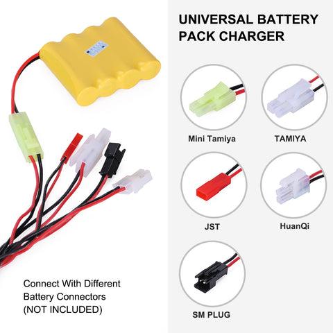 RC Car Battery Charger for NiMH/NiCd Battery Packs 2.4-12V w/ 5 Converter Plugs for RC Car, Airsoft Battery Packs