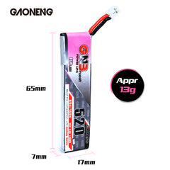 GNB 1S LiPo 520mAh 3.8v PH2.0 80C Longer Flying time Emax TinyHawk - Pack of 4