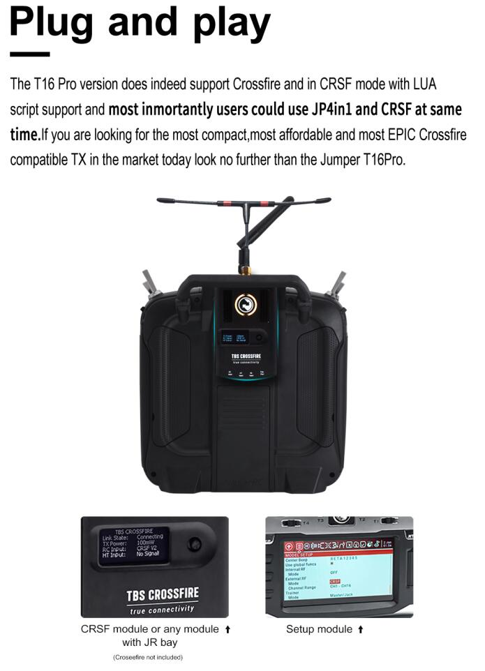 "Jumper factory store T16 Pro Hall V2 Gimbal Open Source Multi-protocol RF Module 2.4G 16CH 4.3"" LCD Radio Transmitter Controller"