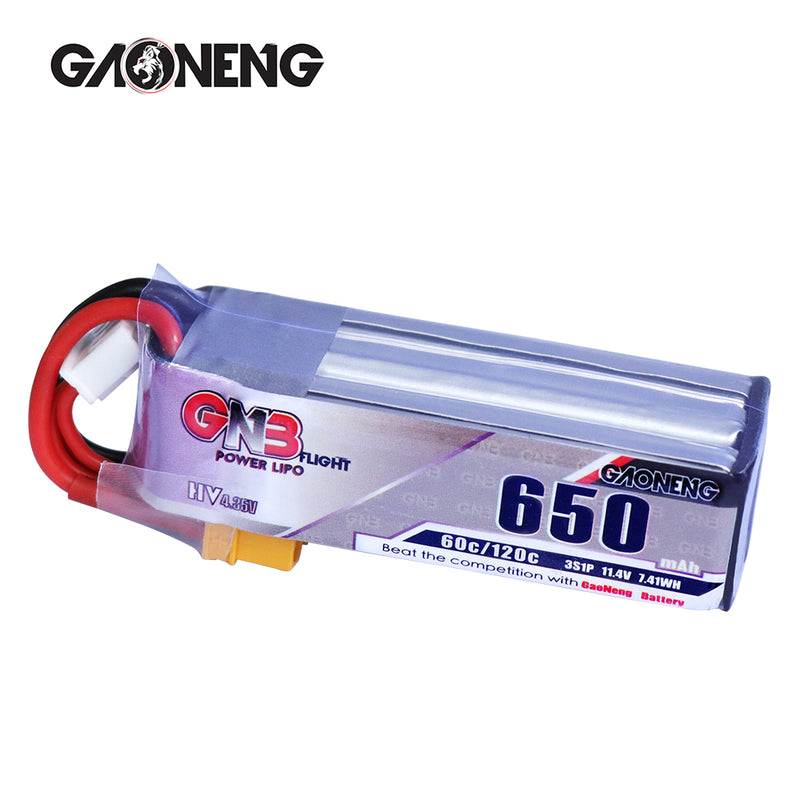 GAONENG 3S LiPo 650mAh XT30 HV 11.40v 60C for Toothpick FPV Drone - 2pcs / 3pcs option