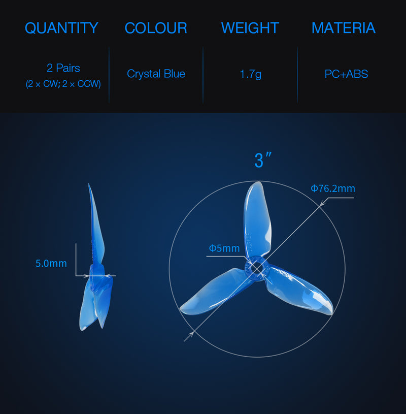 DALPROP cyclone 3 Inch T3056C Pro Racing Drone Propellers Triblade 2 Pairs