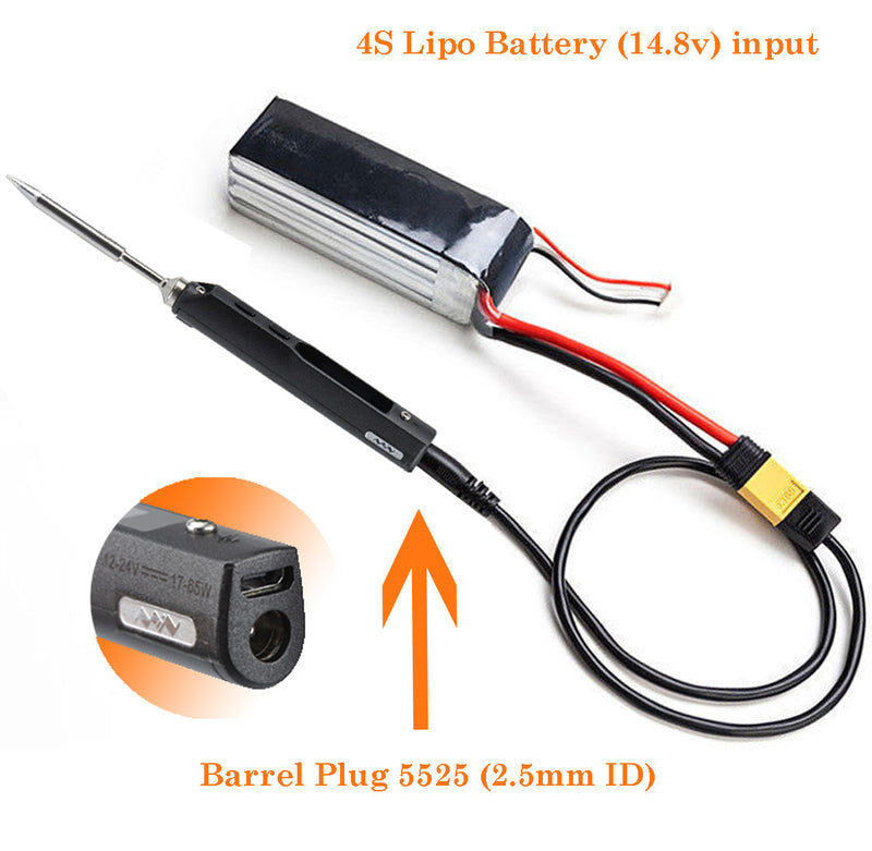 XT60 to Barrel 2.5mm Power Cable 50CM For TS100 Soldering Iron