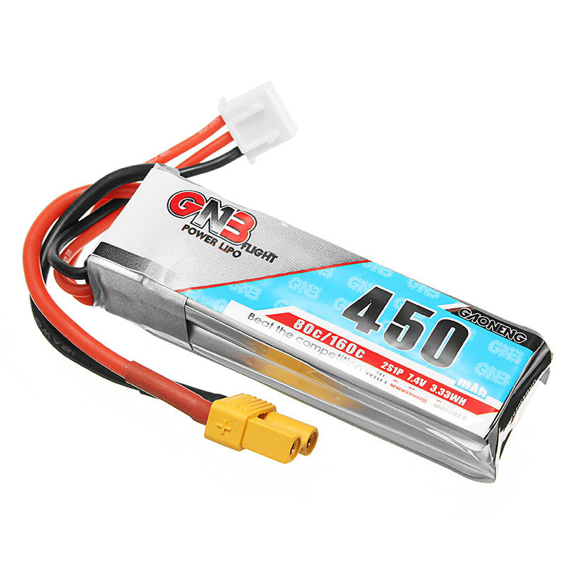 Gaoneng GNB 2S 450MAH 80C Lipo Battery XT30 Plug For Micro FPV Drone Quadcopter Toothpick - 2PCS / 3PCS Option
