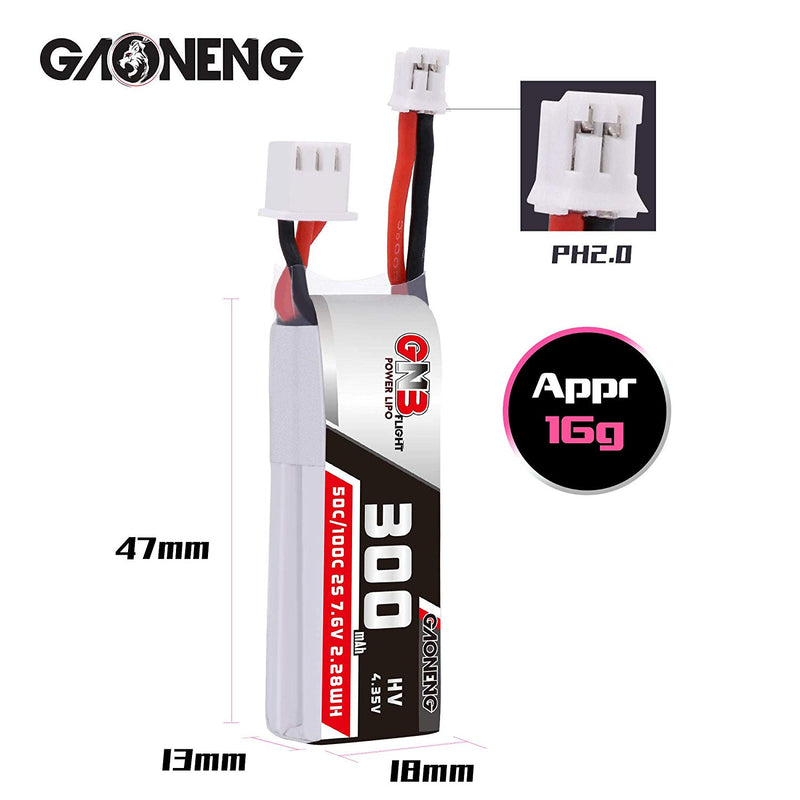 GAONENG GNB 2S 300mAh LiPo Batteries 7.6v PH2.0 Connector 50C for Emax TinyHawk