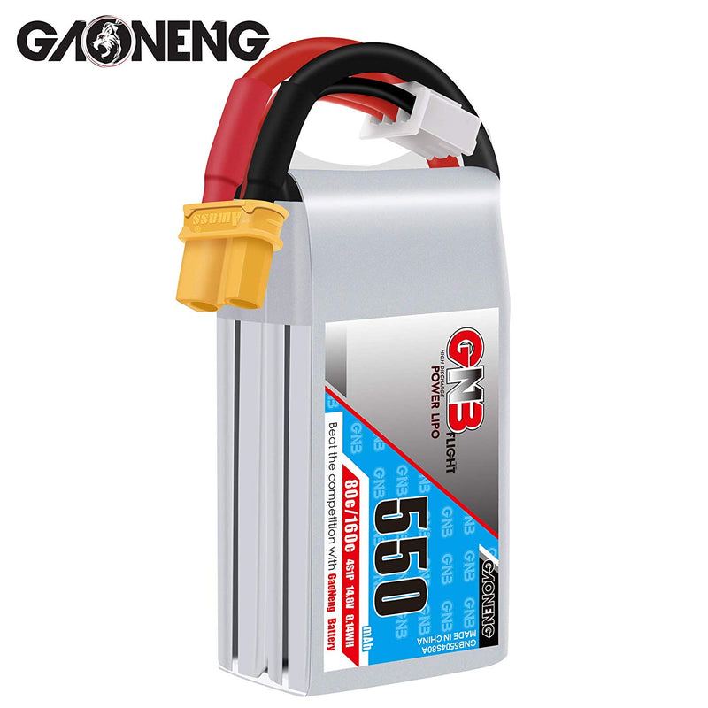 GNB 4S 550mAh LiPo Battery 14.8v XT30 80C for Brushless 90mm to 130mm FPV Racing Drone -2PCS