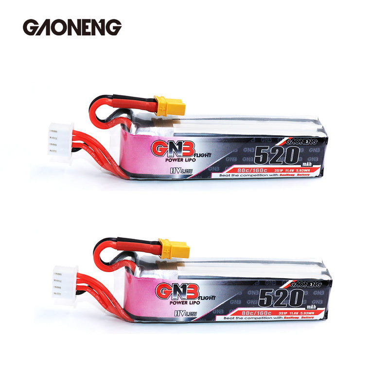 GAONENG 520mAh 3S LiHv LiPo Battery XT30 Plug for Micro FPV Racing Drone - 2pcs / 3pcs optional