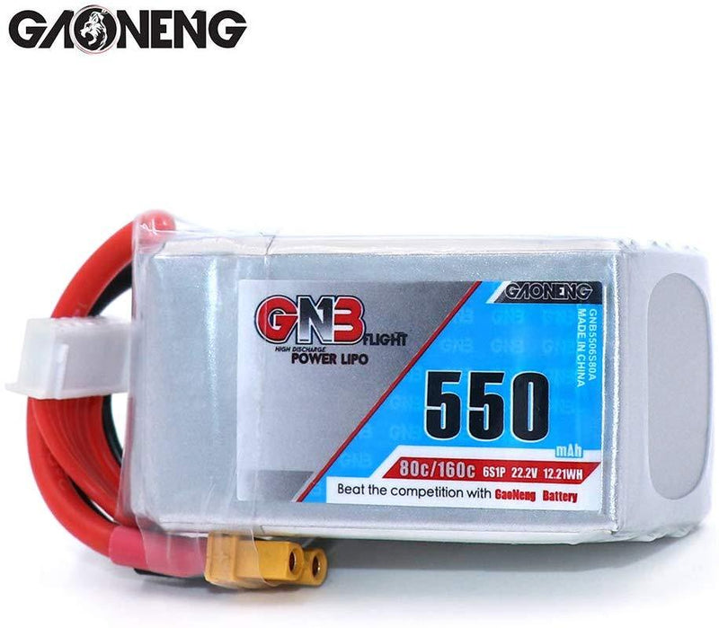 GNB 550/650/750/850mAh 6s Lipo 80C for Diatone 369S 3'' FPV 100mm to 180mm - 1PCS / 2PCS Option