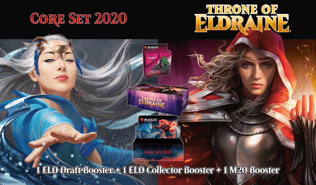 (WPN ONLY) 1 Throne of Eldraine Draft + 1 Throne of Eldraine Collector & 1 Core 2020 Booster Display