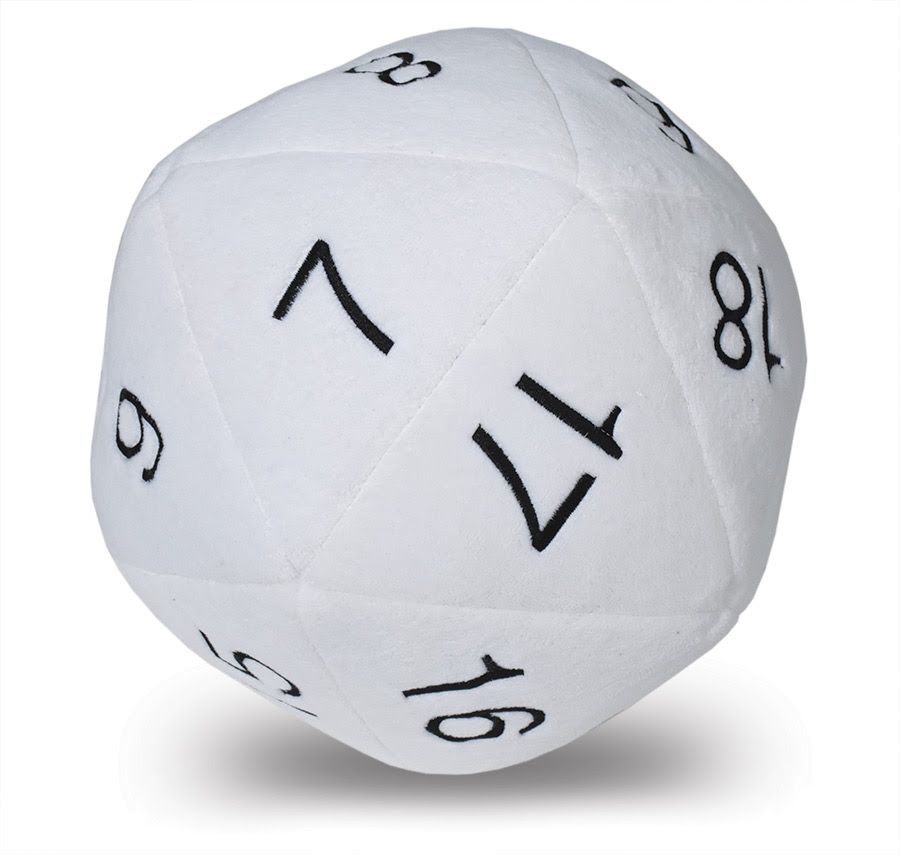 Jumbo D20 Novelty Dice Plush in White with Black Numbering