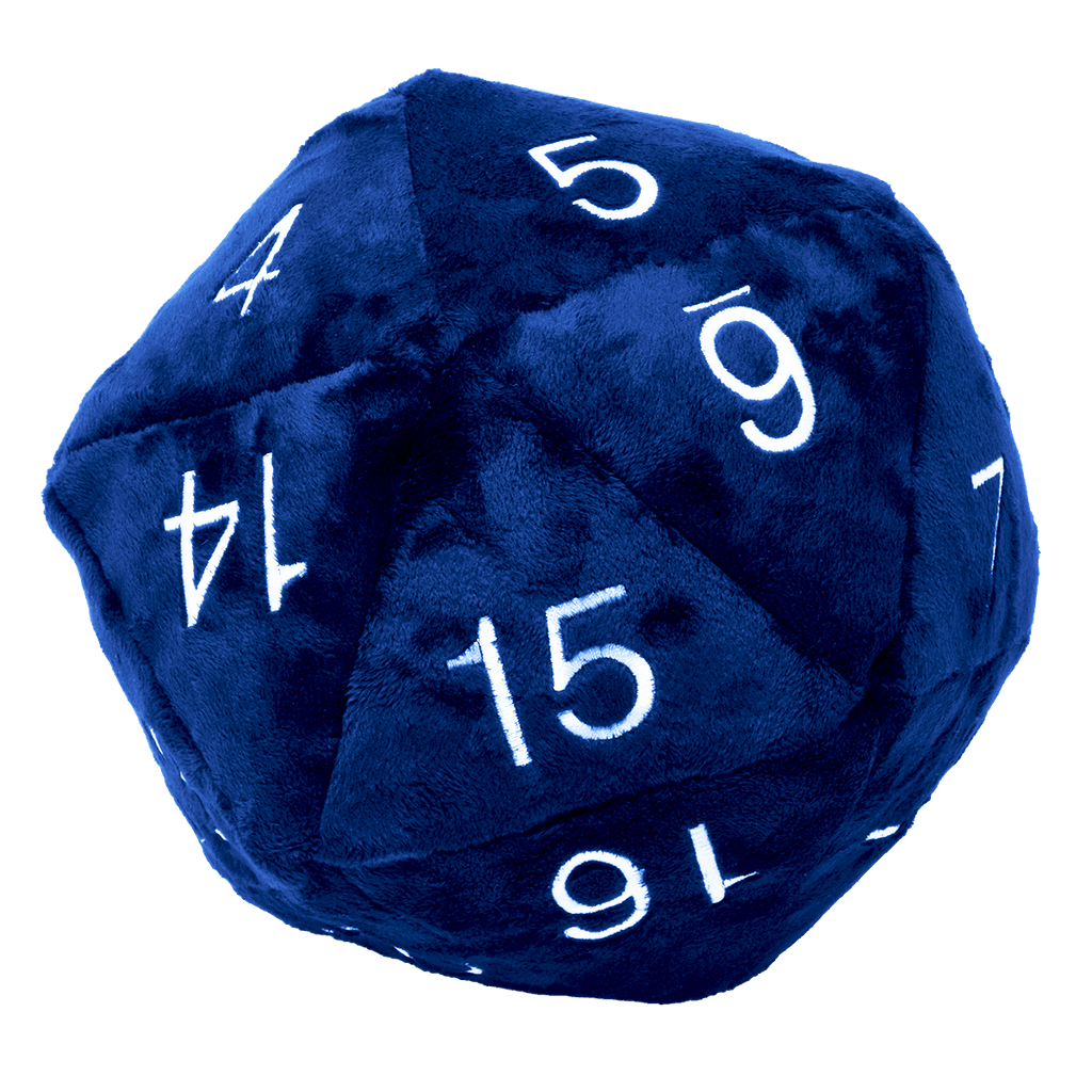 Jumbo D20 Novelty Dice Plush in Blue with White Numbering